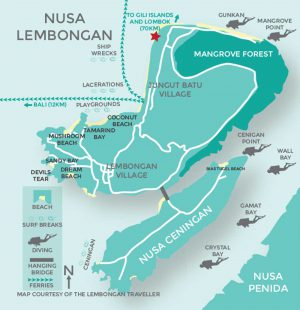 Serenity Yoga location map on Lembongan