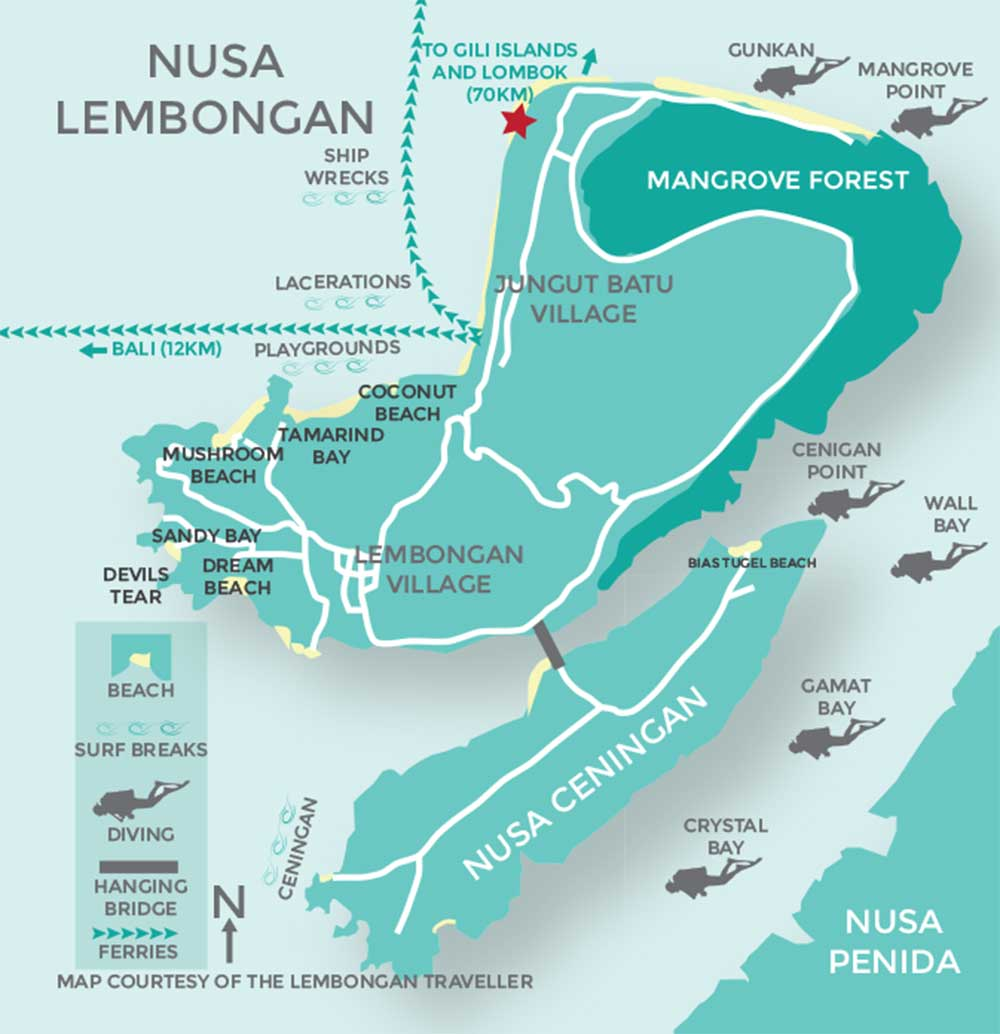 Serenity Yoga location map on Lembongan