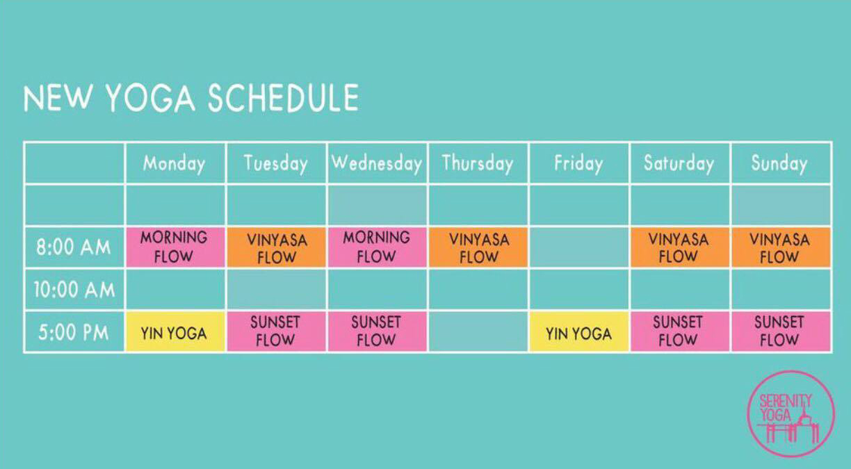 Yoga Schedule for September 2017