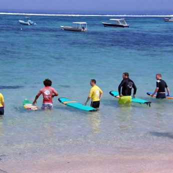Learning to surf on Lembongan
